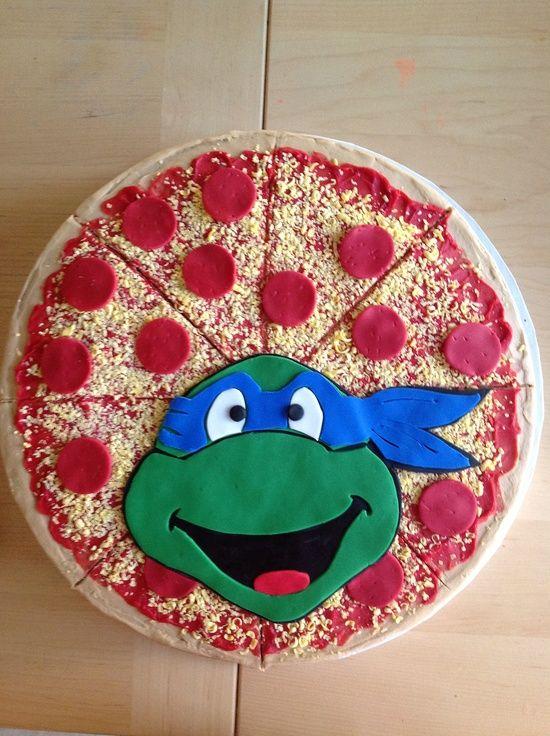 Fiesta Temática de las Tortugas ninja!: Cakes Ideas, Pizza Cakes, Birthday Parties, Ninjas Turtles Cakes, Pizza Boxes, Cookies Cakes, Turtles Parties, Birthday Ideas, Birthday Cakes