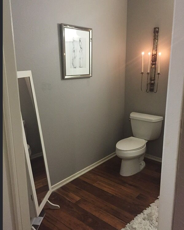 My bathroom redo paint is graceful grey by behr Bathroom wall paint designs