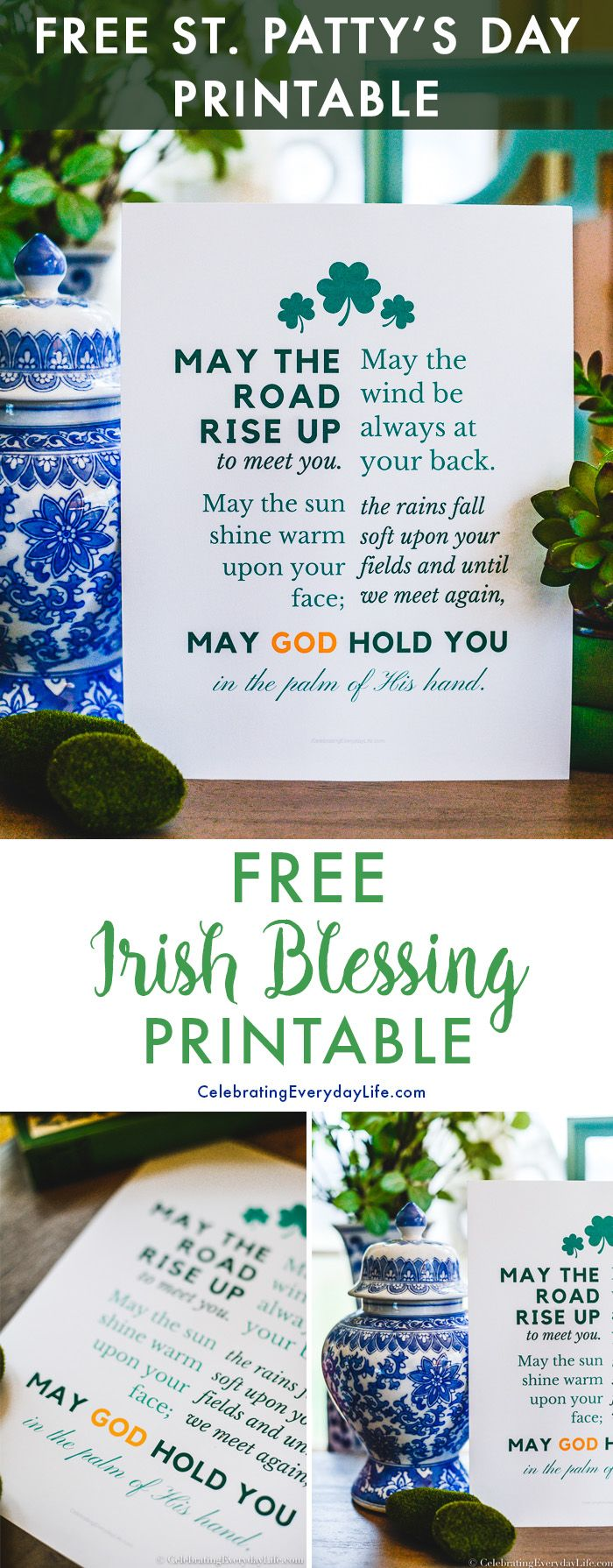 Spruce up your seasonal home decor with this Free St. Patrick's Day Printable. This beloved Irish blessing is a perfect way to decorate for St. Paddy's Day without breaking the bank. Click here to download your free St. Patty's Day Printable art! #stpaddysday #stpatricksday #freeprintable #diydecor #printable #decoratingideas #budgetdecor via @jencarrollva
