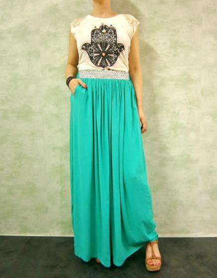 #Falda larga #verde y camiseta #étnica mano #hindú www.patuspies.es