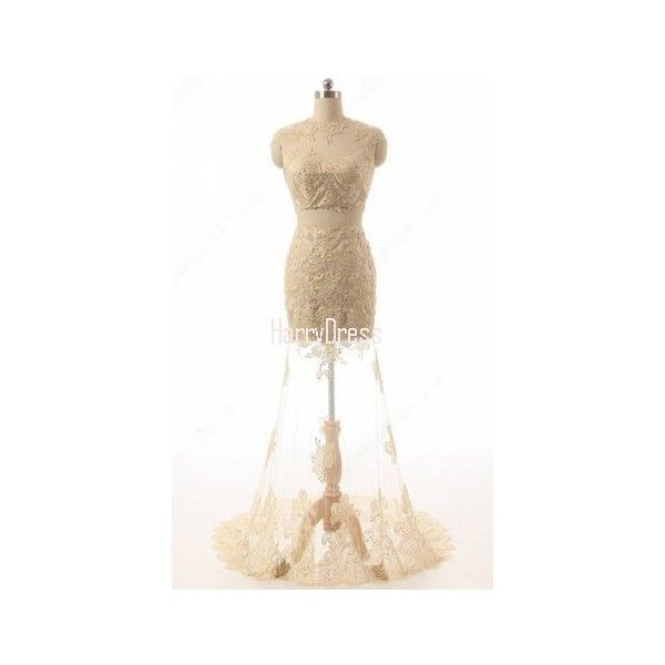 Champagne Lace Tulle Scoop Appliques Lace Trumpet Mermaid Two Piece... ($139) ❤ liked on Polyvore featuring dresses, 2-piece dresses, two piece lace dress, two-piece dresses, prom two piece and champagne lace dress