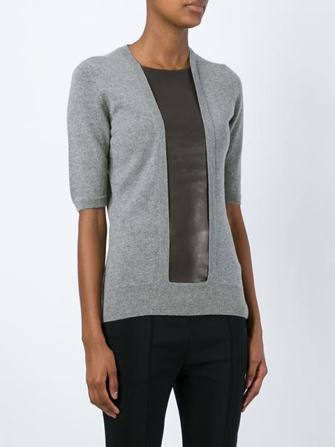 leather panel sweater
