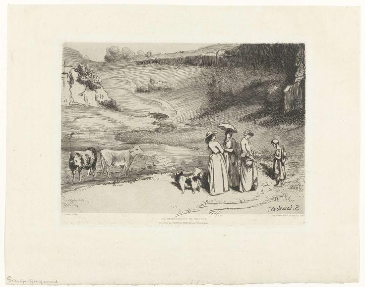 Félix Bracquemond   Jonge vrouwen geven herderin geld in heuvellandschap, Félix Bracquemond, Auguste Delâtre, Cadart & Luquet, 1860 - 1869   Drie jonge vrouwen wandelen in een heuvellandschap en passeren een meisje dat vee hoedt. De herderin krijgt van een vrouw geld. Links staan twee koeien in een beek.