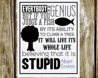 INSTANT DOWNLOAD // Everybody is a genius // Albert Einstein Quote // 8x10 Inspirational printable Poster // Typographic Print
