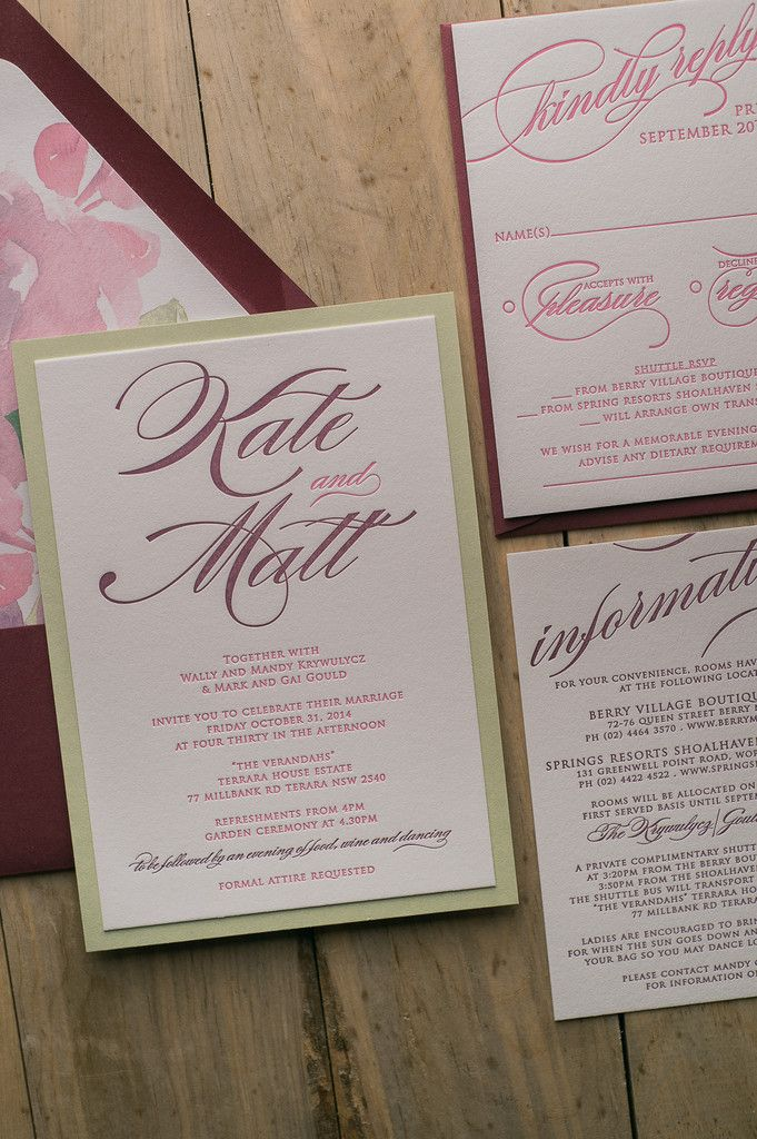 in wedding invitations is the man s name first%0A Fabulous Pink  Burgundy and Sage Letterpress Wedding Invitations with  watercolor floral envelope liner  FAITH