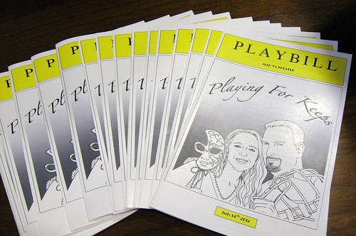 Broadway Playbill Wedding Programs by This & That Creations. Printed on gloss white paper and filled with all your wedding information.