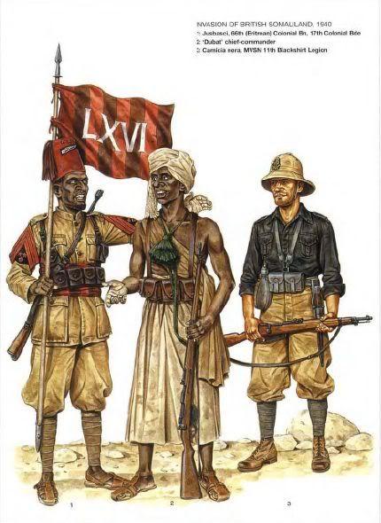 Regio Esercito, Invasione del Somaliland britannico - 1 Jusbascci, 66º Battaglione coloniale (Eritreo), 17ª Brigata Colonialre 2 Capo comandante Dubat. - 3 Camicia nera MSVN, 11a Legione CC.NN.