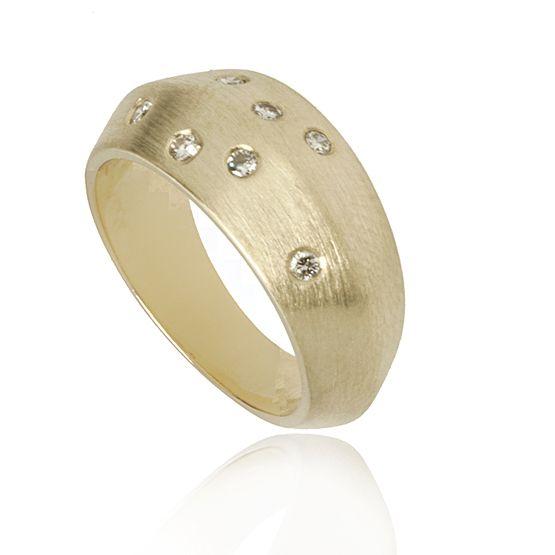 Gouden Ring Briljant Gematteerd