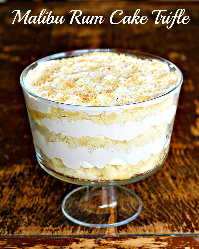 Malibu Rum Cake Trifle. Boozy. Awesome. Make it. | The Kitchen Magpie