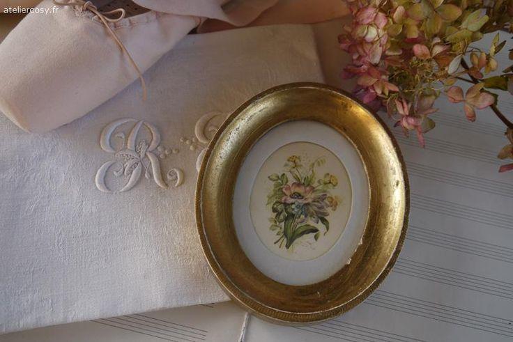 Petit cadre ancien d cot fleuri brocante de charme for Decoration charme cosy