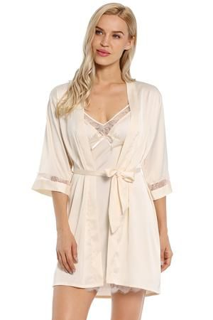 51a9bfc91 Short Satin Kimono Lace Robe #shorts #nightwear #sleepwear #nightdress # nightgown