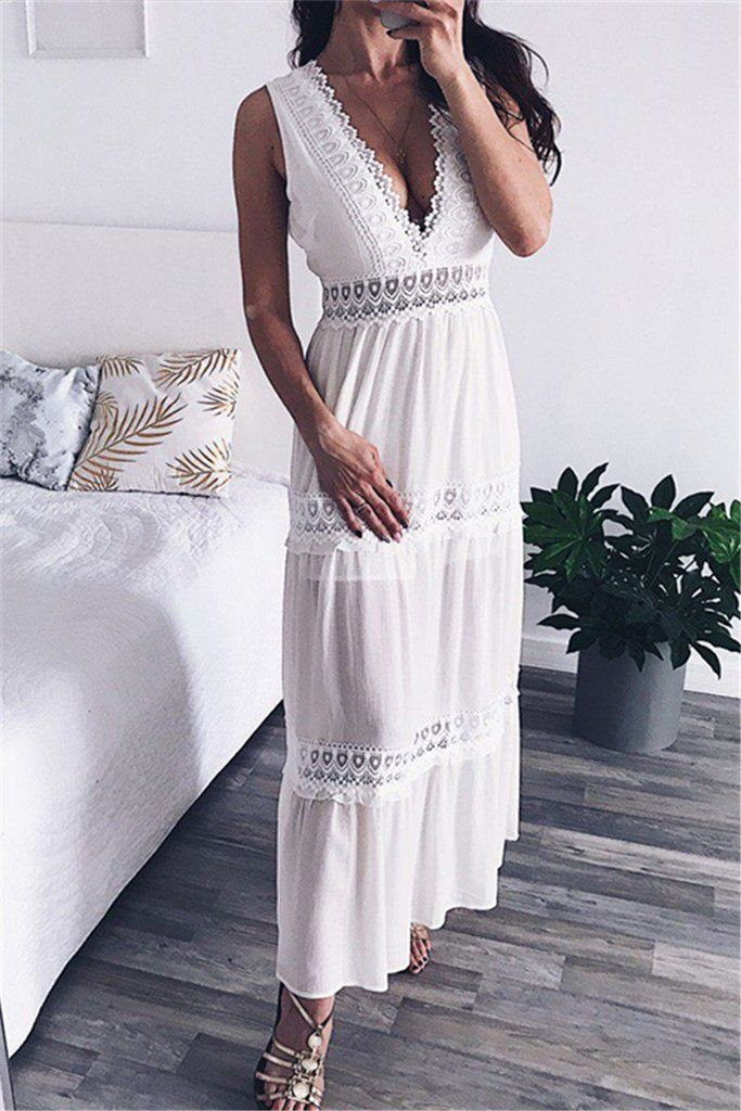 2be945d468 women Sexy Lace Hollow Out White Women Maxi Dresses Summer Party Beach  Elegant Long Vestido Backless Ladies Dress