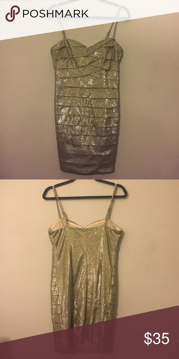Ark & Co Gold Shimmer Spaghetti Strap Dress Medium Ark & Co Gold Shimmer Spaghetti Strap Dress Medium. NWT. Great for date night or a holiday party. Ark & Co Dresses Mini
