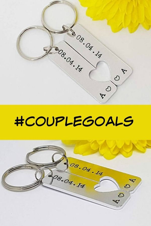 7fc569975c384447171cd653ff06de46 - So cute! Hand Stamped set of 2 keyrings. This set features a date and initials w...