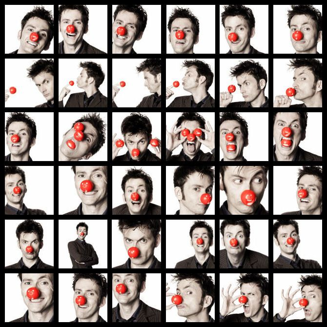 """David Tennant: The only man who can look hot even when wearing a clown nose."" - He's just adorable. :) hehe."