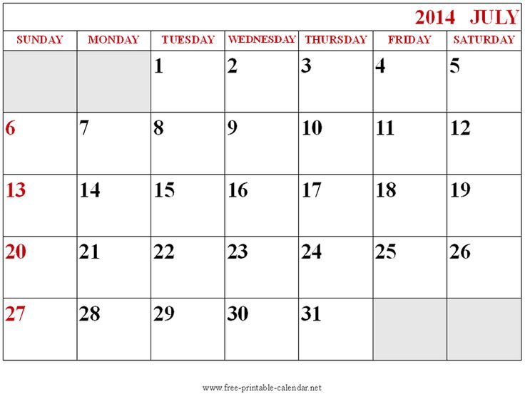 28 Best July 2014 Calendar Images On Pinterest Printable Stencils