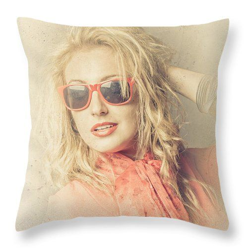 Fashion Throw Pillow featuring the photograph Stylish Blond Female Beauty In Vintage Sunglasses by Jorgo Photography - Wall Art Gallery