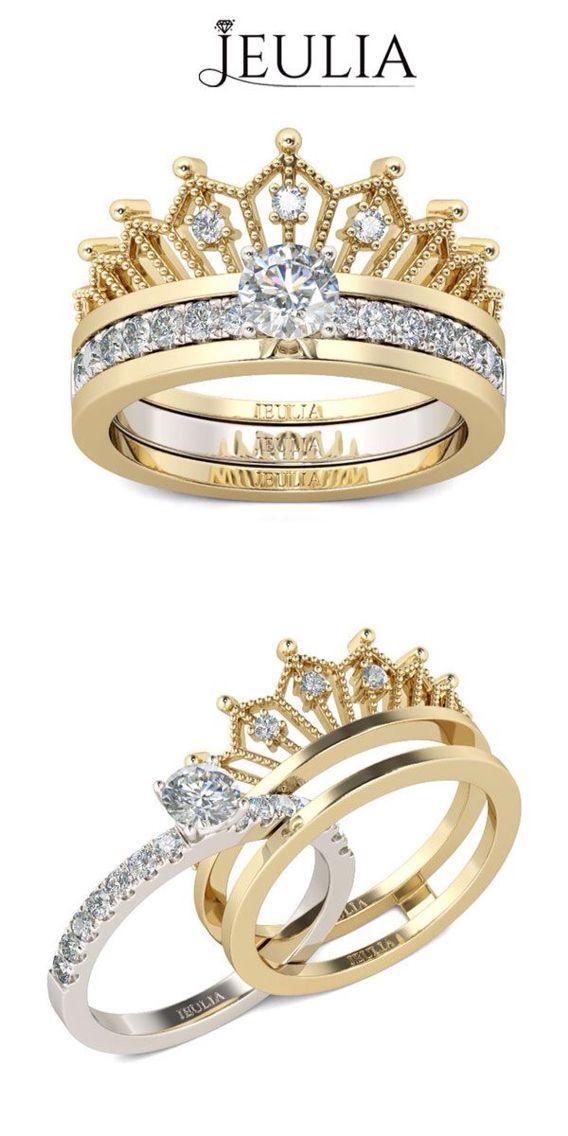 Jeulia Interchangeable Crown Two Tone Created White Sapphire Wedding Set