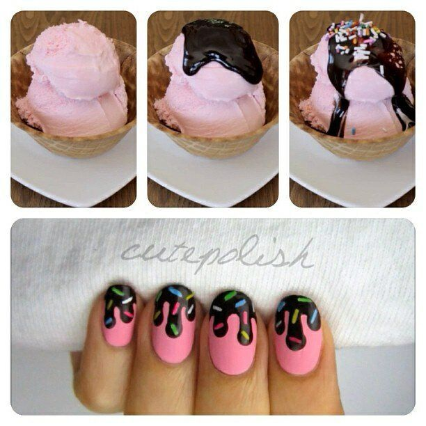 Chocolate Sauce & Sprinkles Nail Art ! Who doesn't love a dripping manicure?!