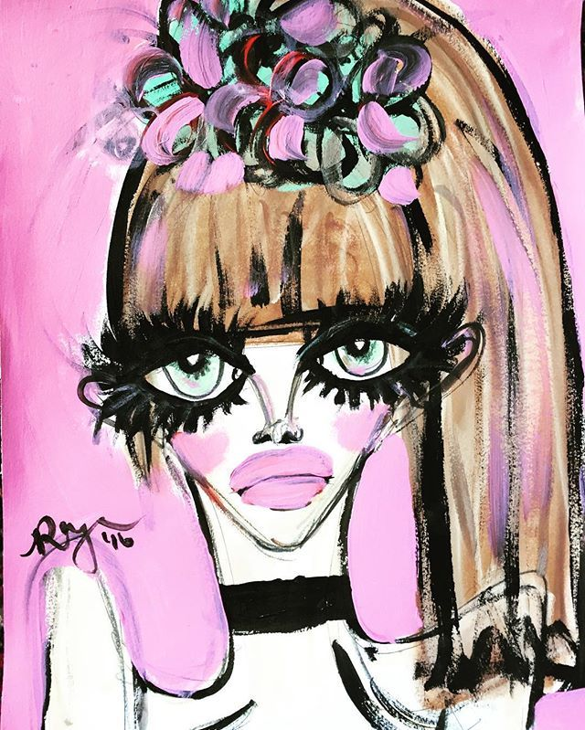 Sassy Pink Lady  Pastels, ink & pink acrylic paint!