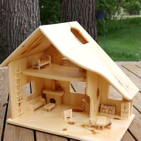 Casa de muñeca de madera sin muebles por simplertimestoys en Etsy