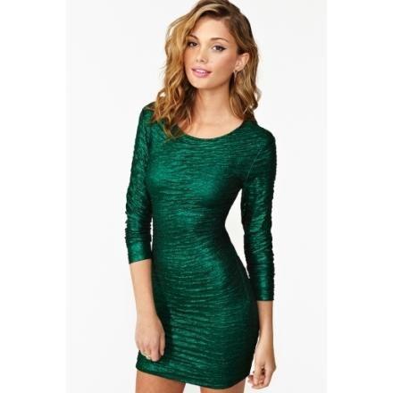 emerald green going out dress