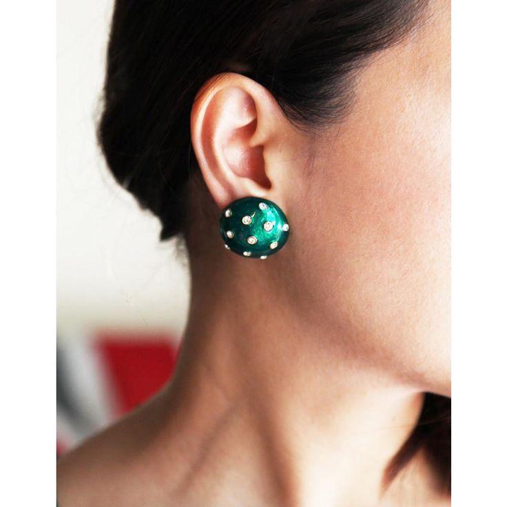 Green Enamel & Rhinestone Round Earring / ヴィンテージイヤリング