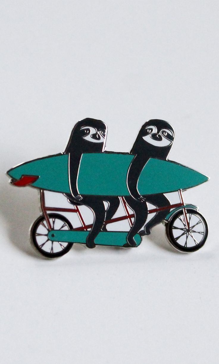 Enamel pin - surfer sloths on a tandem bicycle - quirky gifts - collectable art pin