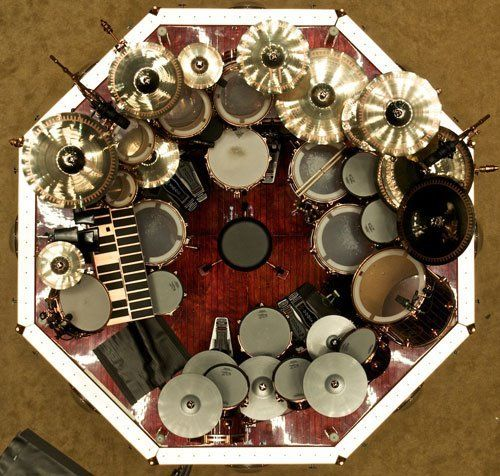 An aerial view of Rush drummer Neil Peart's set.