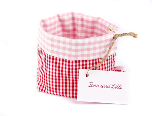 Utensilo Baumwolle Vichykaro Rot und Rosa von Tina und Lilli auf DaWanda.com10x10, h14, 12,5