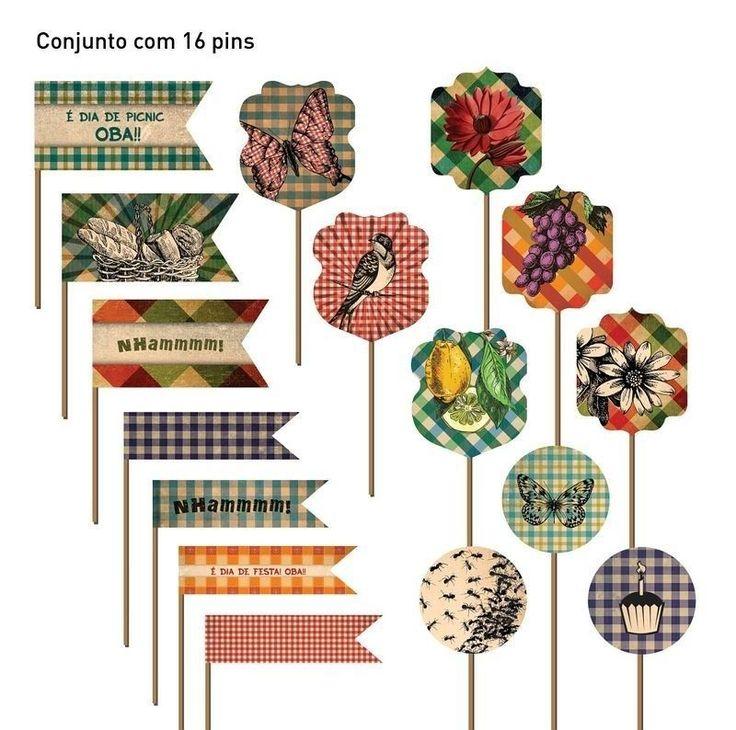 Toppers com o tema picnic - Flamingo em Festa | Papelaria e design para dias especiais