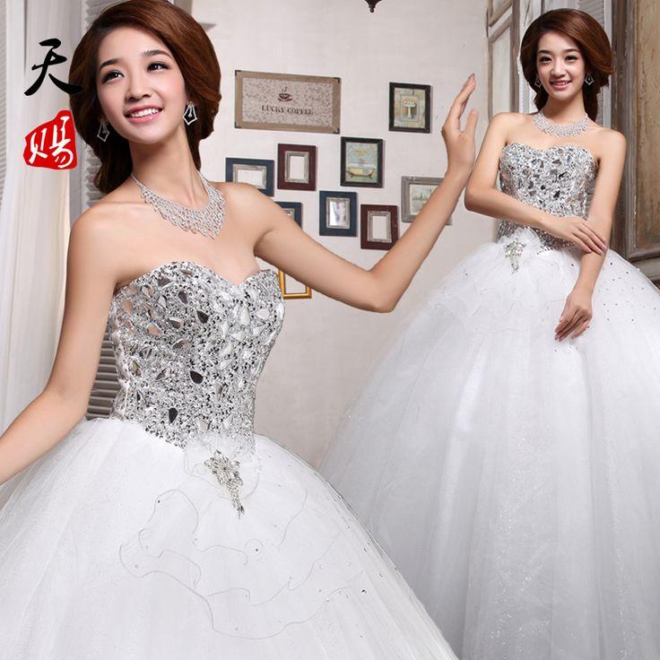 Free Shipping 2014 diamond princess wedding dress tube top bride bandage wedding dress autumn and winter  Formal Dress