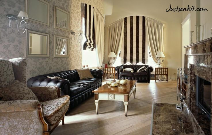 http://www.drissimm.com/wp-content/uploads/2015/01/classic-english-style-living-room-interior-design-with-floral-wallpaper-as-well-striped-curtain-window-also-black-leather-sofa-also-wooden-floor-along-with-granite-fireplace-mantel-idea.jpg