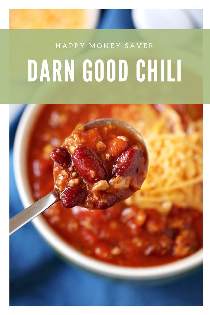 It doesn't get easier than this Darn Good Chili Recipe made in the slow cooker! Plus you can freeze it for later! http://happymoneysaver.com/darn-good-chili-recipe/?utm_campaign=coschedule&utm_source=pinterest&utm_medium=Karrie%20%7C%20HappyMoneySaver&utm_content=Darn%20Good%20Chili%20Recipe