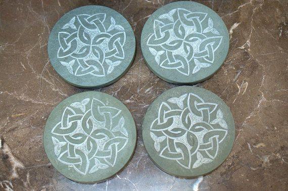 Jade green Slate hand carved round shape stone by SAGaStone