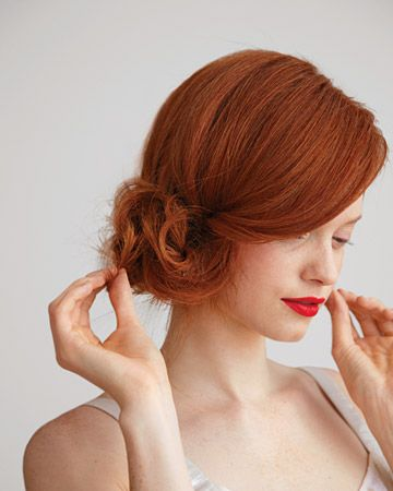 side chignon.: Hairstyles, Wedding Hair, Red Hair, Hair Styles, Makeup, Side Buns, Updo, Hair Color