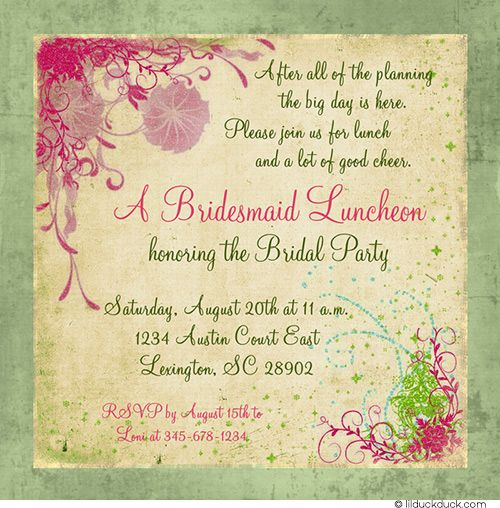 Classic Bridesmaid Luncheon Invitation - Floral Pink & Green