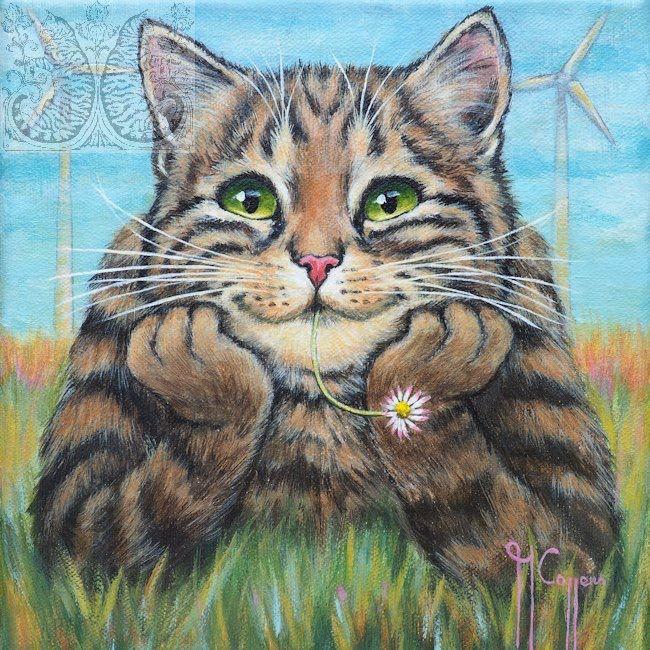 Moin Aquarell Katze Katzen Kunst Katzen Zeichnungen