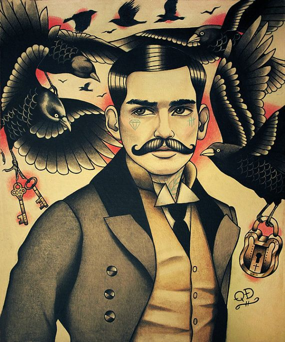 Crows and Tattooed Man with Moustache Art by ParlorTattooPrints.