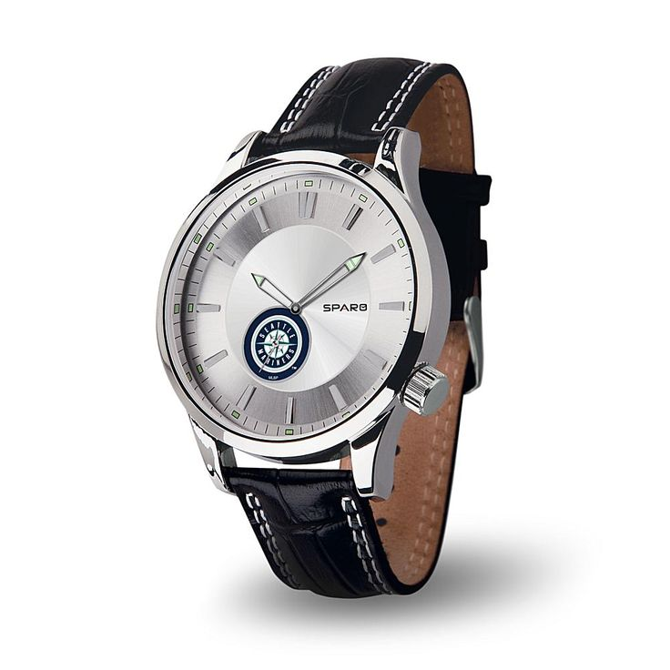 """Rico MLB Team Logo """"Icon Series"""" Sub-Second Dial Leather Strap Sports Watch - Seattle Mariners"""
