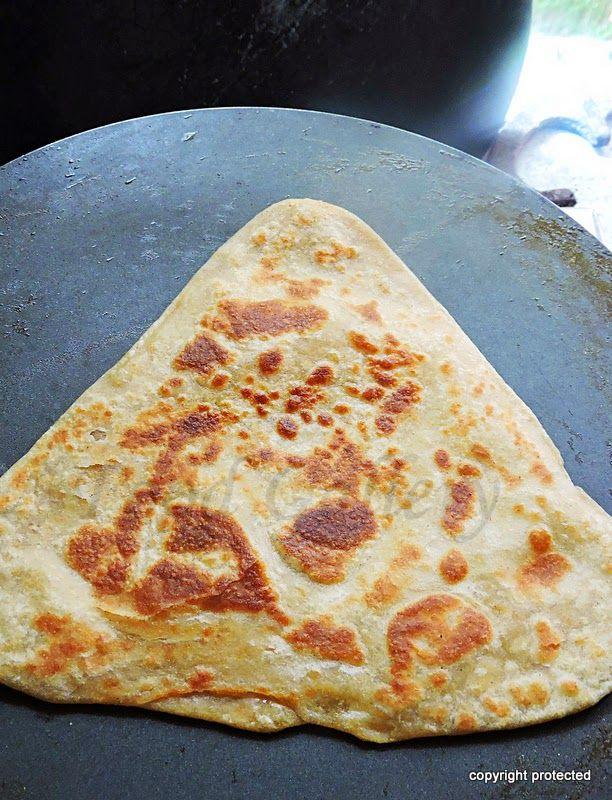 Triangle paratha, layered paratha