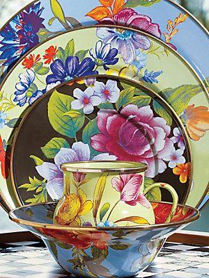 MacKenzie-Childs Flower Market Set for Summer.  Enameled Steel hand Glazed and Decorated .