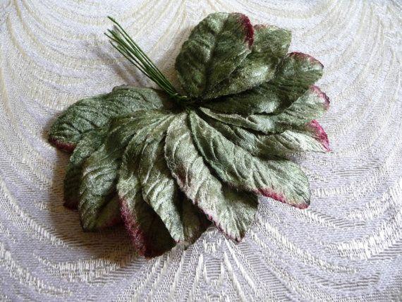 Velvet Leaves Shaded Green Millinery Rose Leaves by APinkSwan