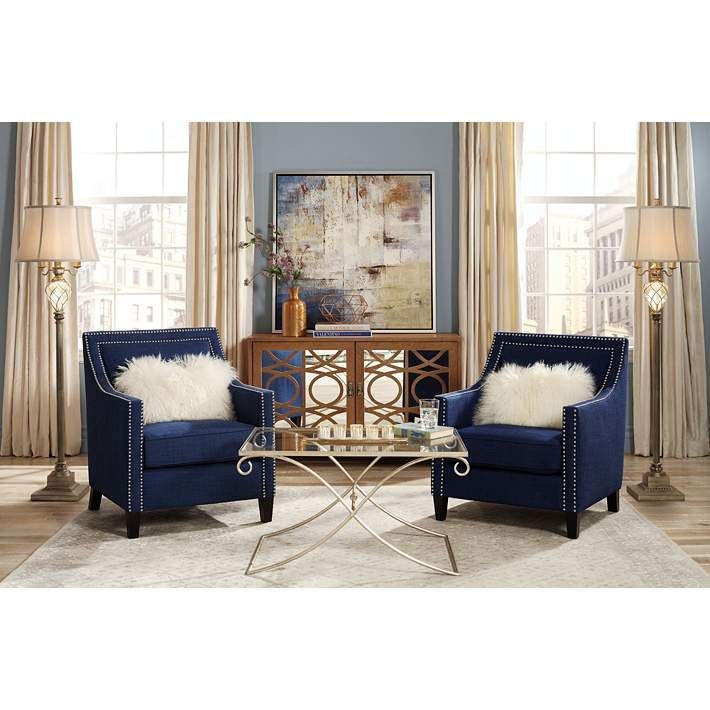 Flynn Navy Blue Upholstered Armchair 4w442 Lamps Plus In 2021 Blue Chairs Living Room Accent Chairs For Living Room Navy Living Rooms