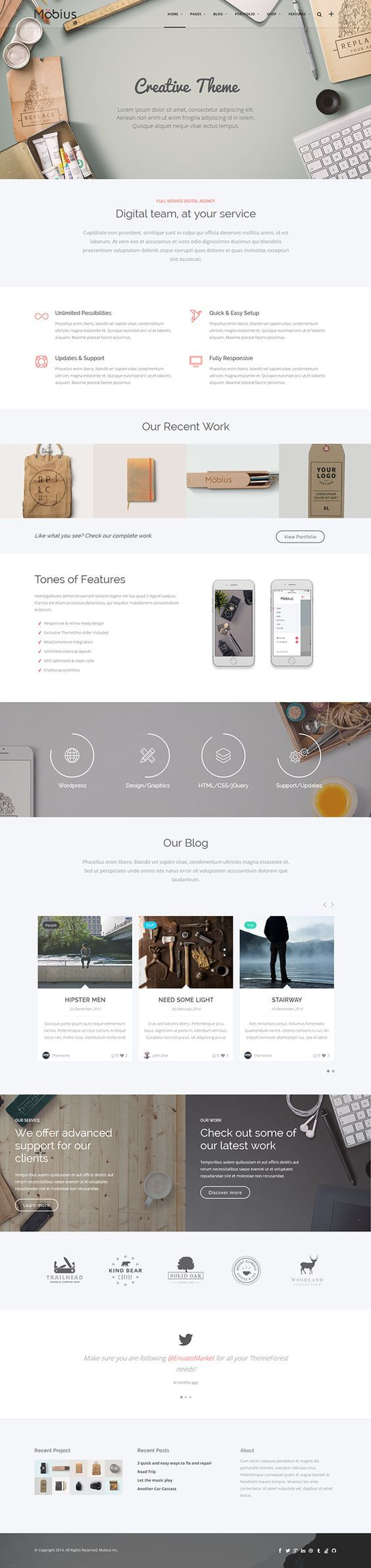 Feature a product/service at the top then its main selling points. Inspiration for emails, but great for landing pages. Mobius - Responsive Multi-Purpose WordPress Themew: