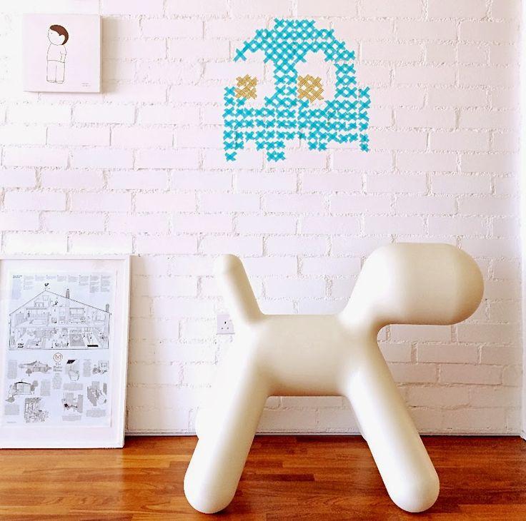Pacman washi tape wall art kids pinterest tape wall for Washi tape wall art