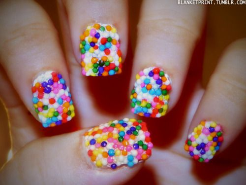 To achieve this look, all I did was paint my nails with two coats of Snow White, sprinkle my fingers with actual sprinkles (I used Wal-Mart brand sprinkles, so it's not like it matters what sprinkles you use), and then cover the design with two coats of top coat!