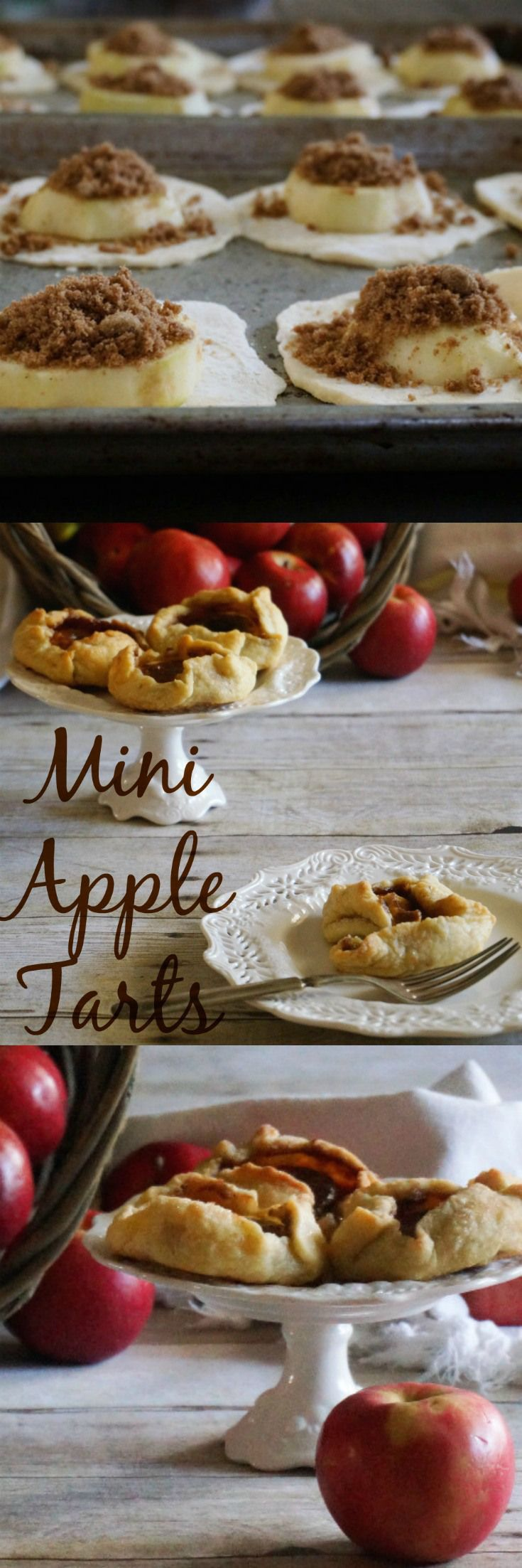 Tender buttery pastry crust, cinnamon and brown sugar soaked apples, all baked into mini tarts that will fit in the palm of your hand.