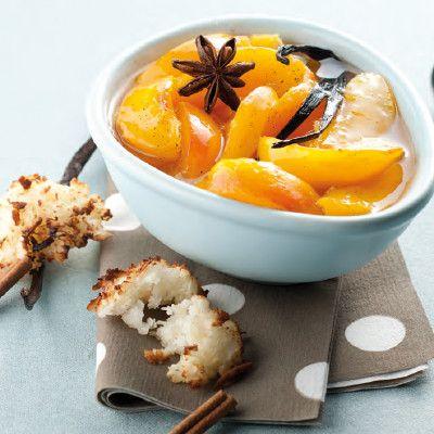 Perzik op siroop met kokosrotsjes