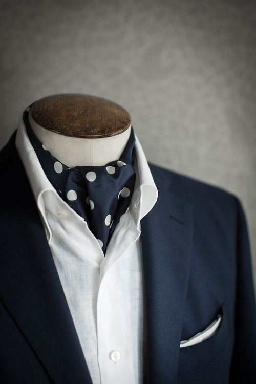 malfordoflondon:  Just In: Paul Smith Hand Rolled Navy Blue Polka Dot Silk Ascots